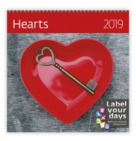 Hearts Wall Calendar 2019 by Helma