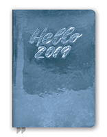 Hello Metallic Blue Leatheresque Medium Weekly Agenda 2019 by Orange Circle Studio